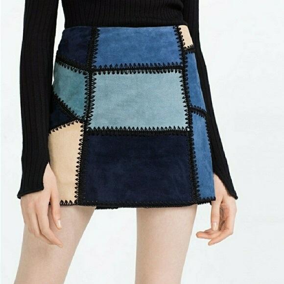 Zara Dresses & Skirts - Zara Blue Sued Patchwork Skirt NWOT
